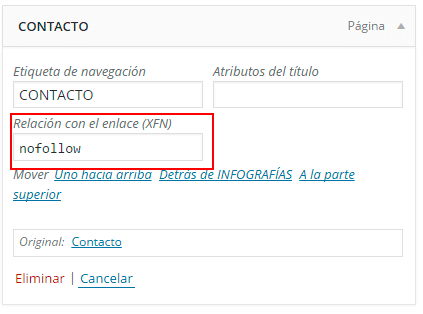 ejemplo enlace nofollow menu wordpress