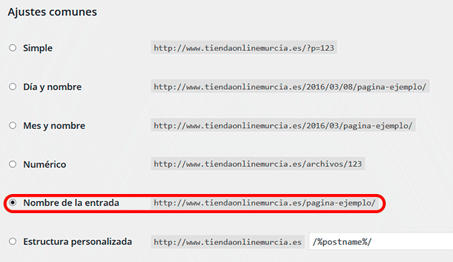 configurar urls amigables wordpress