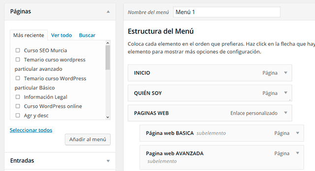 pagina gestion de menus wordpress