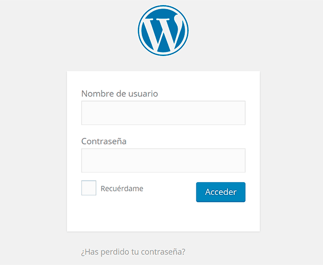 panel de acceso wordpress