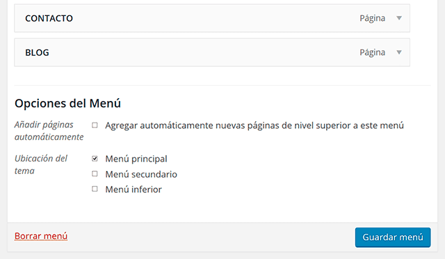 ubicaciones del menu wordpress