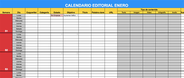 plantilla calendario editorial excel